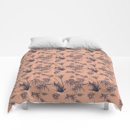 Bamboo Silhouettes in Salmon/Atlantic Navy Comforters