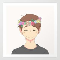 danisnotonfire Art Prints featuring Flower Crown  by draws but not really