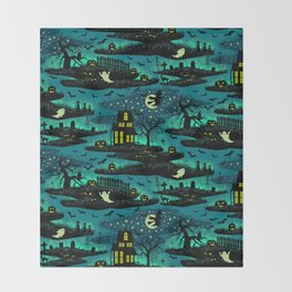 Halloween Night - Fox Fire Green Throw Blanket