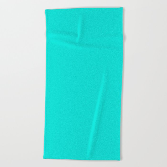 Bright Turquoise Solid Color Beach Towel
