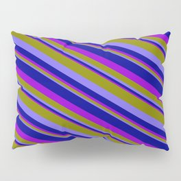 Green, Medium Slate Blue, Dark Blue, and Dark Violet Colored Pattern of Stripes Pillow Sham