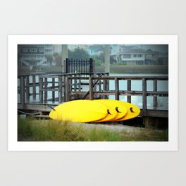 Four Yellow Surfboards Art Print
