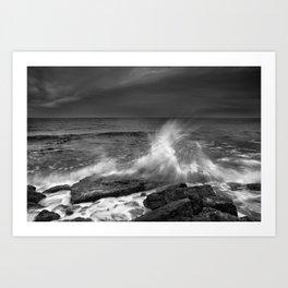 Mediterranean Wave At Sunset. Bw Art Print