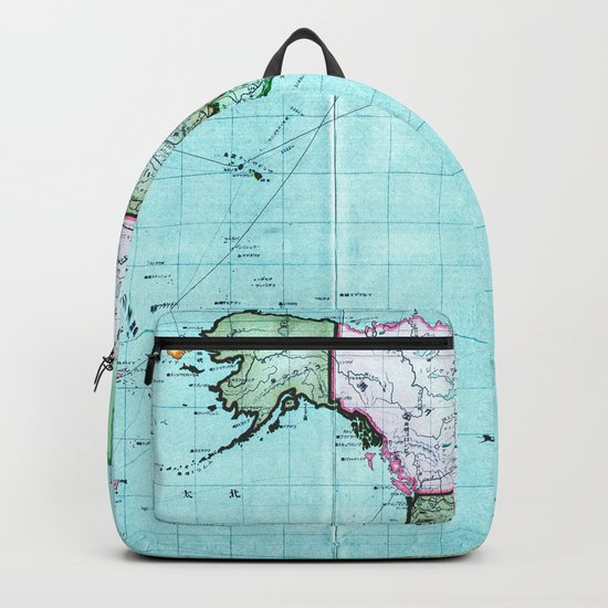 Turquoise Map Pattern Backpack