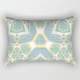 Turquoise Blue Mint Green Batik Style Kaleidoscope Mosaic Pattern Rectangular Pillow