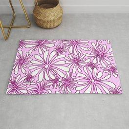 Swirly Flower Purple and White Graphic Design Floral Art by Megan Duncanson MADART Rug