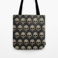polkadot Tote Bags featuring Odd Skull Polkadot by Luke Clark