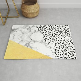 Carina - gold black and white with marble abstract painting minimalist decor dorm college nursery Rug