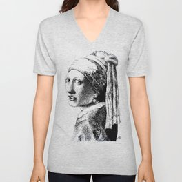 Girl With A Pearl Earring Unisex V-Neck