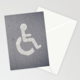 Wheelchair sign icon on asphalt gray street road Stationery Cards