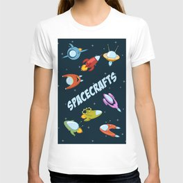 Spacecraft and rockets flying the stars T-shirt