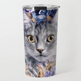 Cat in Flowers. Autumn Travel Mug