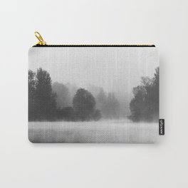 Trees disappearing in morning fog above the lake Carry-All Pouch