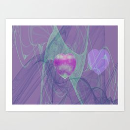 Heart Art- Abstract Art- Now or Later- Pink Heart- Purple Heart-Green-Pattern Art- Sacred Geometry Art Print