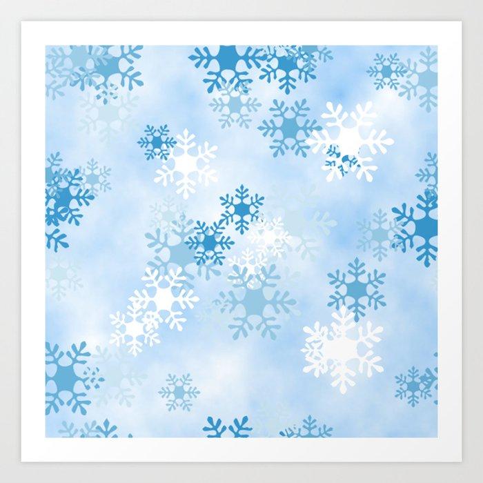 Blue White Winter Snowflakes Design Kunstdrucke