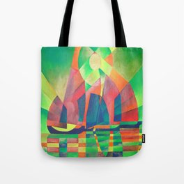 Sea of Green With Cubist Abstract Junks Tote Bag