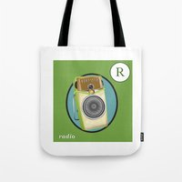 transistor Tote Bags featuring Transistor Radio Flash Card by paper moon projects