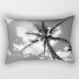 Tropical Palm Trees Black and White Rectangular Pillow