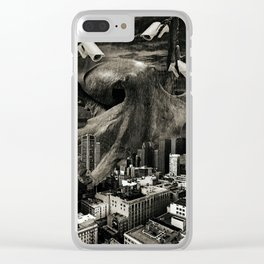 Modern Freedom Black and White Clear iPhone Case