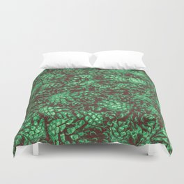 Scent of Pine RETRO GREEN / Photograph of pine cones Duvet Cover
