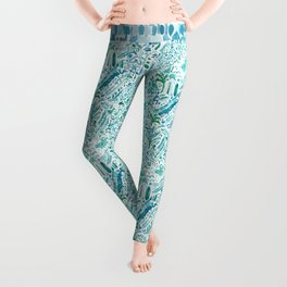 IDEAL BEACH HOUSE Aqua Watercolor Print Leggings