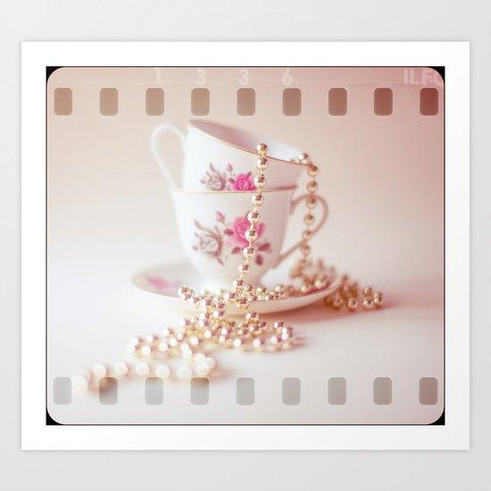 Pastel film vintage teacups  Art Print
