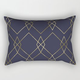 Gold Geometric Navy Blue Rectangular Pillow