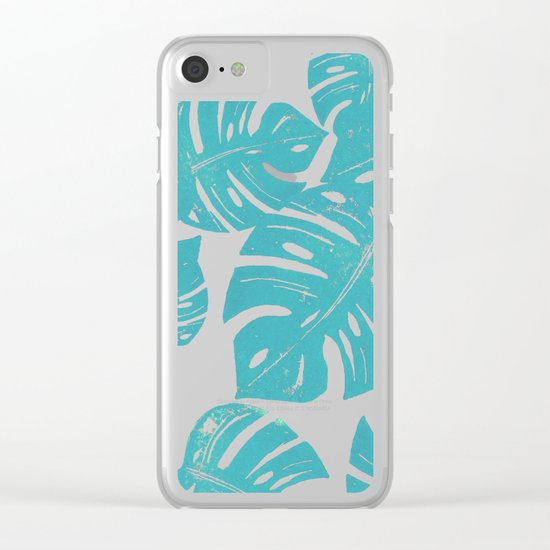 Linocut Monstera Rosy Clear iPhone Case