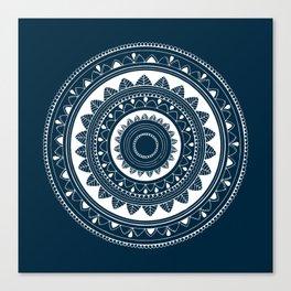 Ukatasana white mandala on blue Canvas Print
