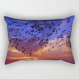 Flight of flamingos at sunset Rectangular Pillow