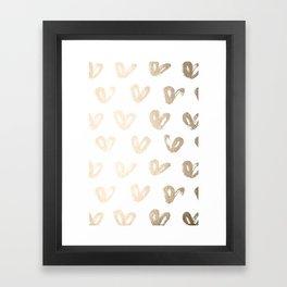 Luxe Gold Hearts on White Framed Art Print