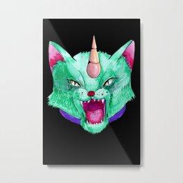 the cat unicorn Metal Print