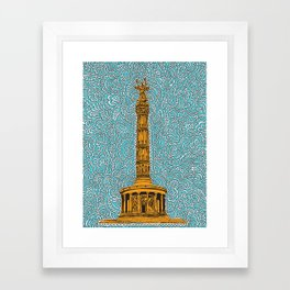 Siegessäule Drawing Meditation - Blue Framed Art Print
