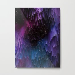 Ultra Violet Glitch Galaxy Metal Print