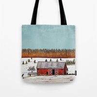 john snow Tote Bags featuring First Snow by John Wisker