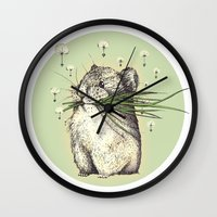 hamster Wall Clocks featuring Hamster Love by Nasuta