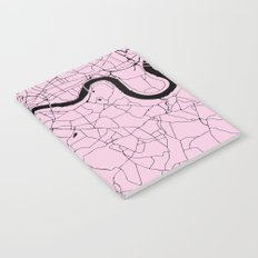 London Pink on Black Street Map Notebook