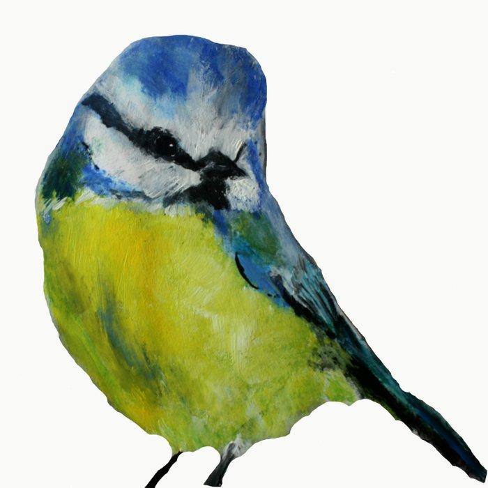 Wild English Garden Bird Blue Tit Contemporary Acrylic Painting White Edit Duvet Cover
