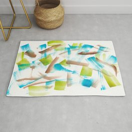 180719 Koh-I-Noor Watercolour Abstract 3 | Watercolor Brush Strokes Rug
