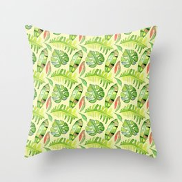 Hand painted green red watercolor tropical cheese leaves Throw Pillow
