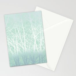 Frosted Winter Branches in Misty Green Stationery Cards