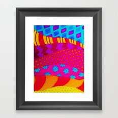 THE HIPSTER - Cool Colorful Vibrant Abstract Mixed Media Trendy Fabric Patterns Illustration Framed Art Print