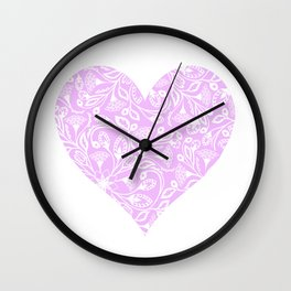 Floral Heart Design Pink and White Wall Clock
