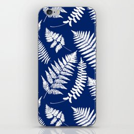 Woodland Fern Pattern, Cobalt Blue and White iPhone Skin