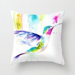 Colorful Hummingbird Throw Pillow