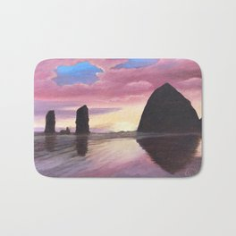 Pink Clouds at Haystack Rock Bath Mat