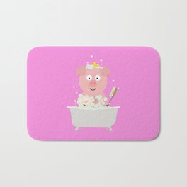 Pig in Bathtube with bubbles Bath Mat