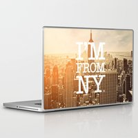 stickers Laptop & iPad Skins featuring New York by Text Guy