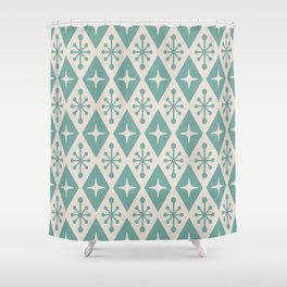 Mid Century Modern Atomic Triangle Pattern 710 Green and Beige Shower Curtain
