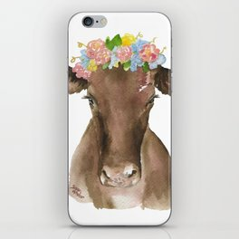 Brown Cow with Floral Wreath iPhone Skin